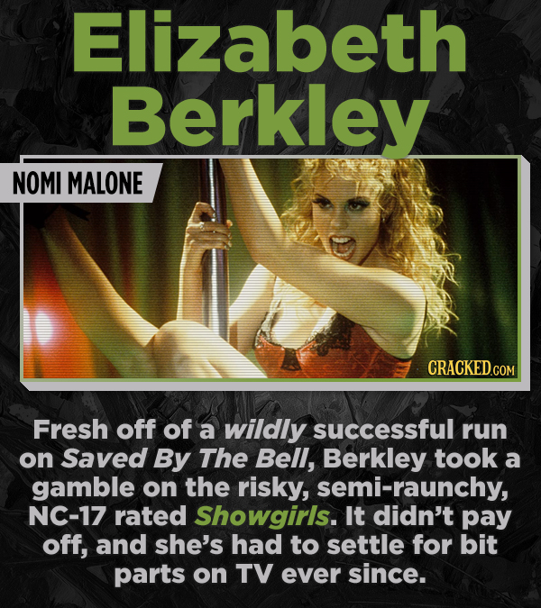 Elizabeth Berkley NOMI MALONE Fresh off of a wildly successful run on Saved By The Bell, Berkley took a gamble on the risky, semi-raunchy, NC-17 rated
