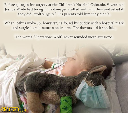 Before going in for surgery at the Children's Hospital Colorado, 9-year-old Joshua Wade had brought his damaged stuffed wolf with him and asked if the
