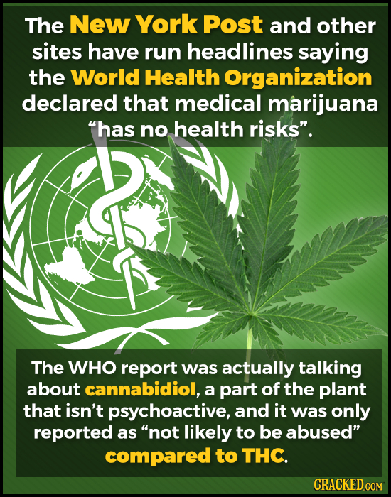 The New York Post and other sites have run headlines saying the World Health Organization declared that medical marijuana 'has no health risks. The