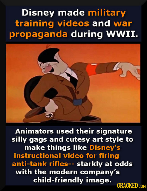 Disney made military training videos and war propaganda during WWII. Animators used their signature silly gags and cutesy art style to make things lik