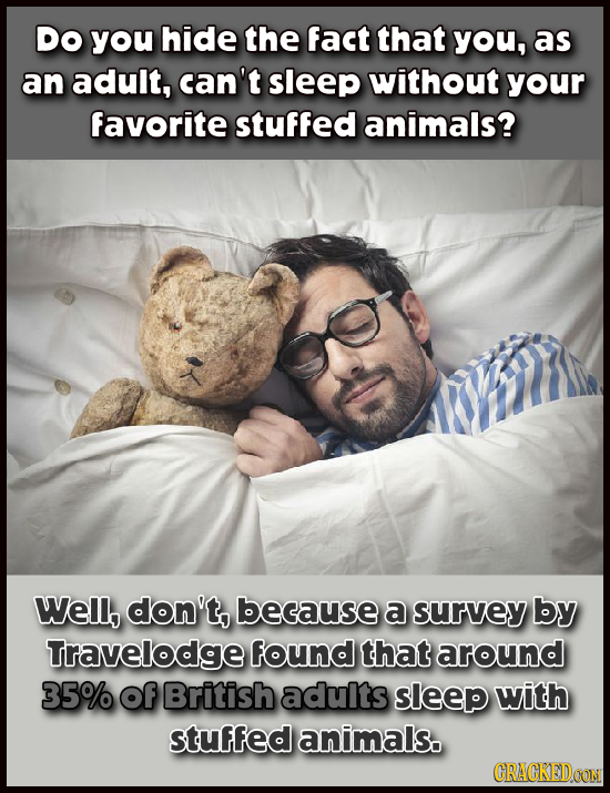 Do you hide the fact that you, as an adult, can't sleep without your favorite stuffed animals? Well, don't, because a survey by Travelodge found that