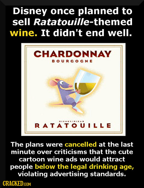 Disney once planned to sell Ratatouille-themed wine. It didn't end well. CHARDONNAY BOURCOCNE RATATOUILLE The plans were cancelled at the last minute