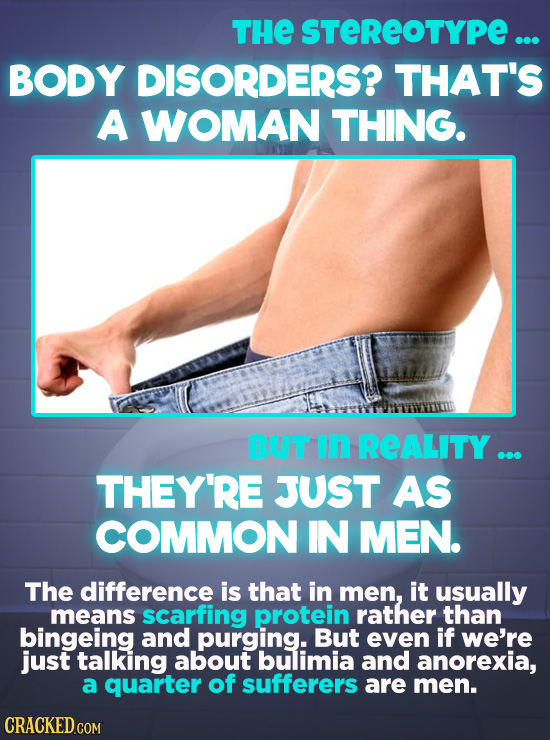 THE STEREOTYPE ... BODY DISORDERS? THAT'S A WOMAN THING. BUT in REALITY ... THEY'RE JUST AS COMMON IN MEN. The difference is that in men, it usually m