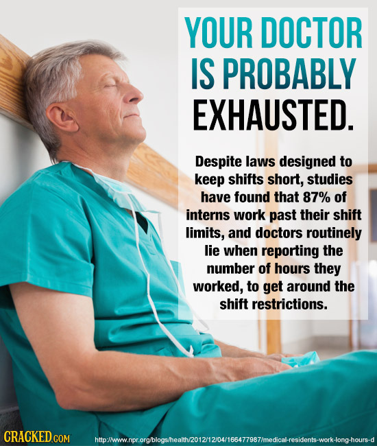 YOUR DOCTOR IS PROBABLY EXHAUSTED. Despite laws designed to keep shifts short, studies have found that 87% of interns work past their shift limits, an