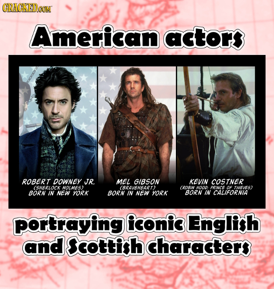 CRAGKEDCON American actor ROBERT DOWNEY JR. MEL GIBSON KEVIN COSTNER (SHERLOCK HOLMES) BRAVEHEART CROBIN H0O: PRINCE OF THIEVES) BORN IN NEW YORK BORN