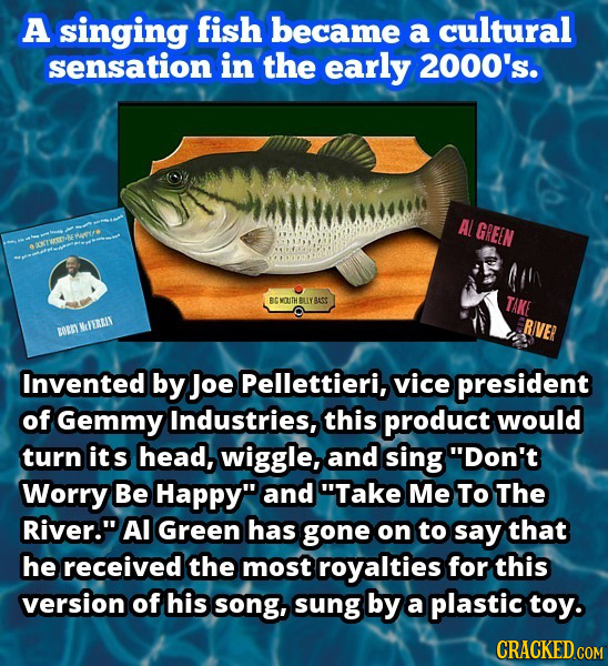 A singing fish became a cultural sensation in the early 2000's. AL GREEN ort BOUITH BLLYBASS TAKE ERIVER BONT MIEREIN Invented by Joe Pellettieri, vic