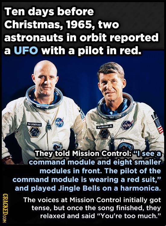 Ten days before Christmas, 1965, two astronauts in orbit reported a UFO with a pilot in red. NASA T STATFORO NASTA ENKSCHSQLJR They told Mission Contr