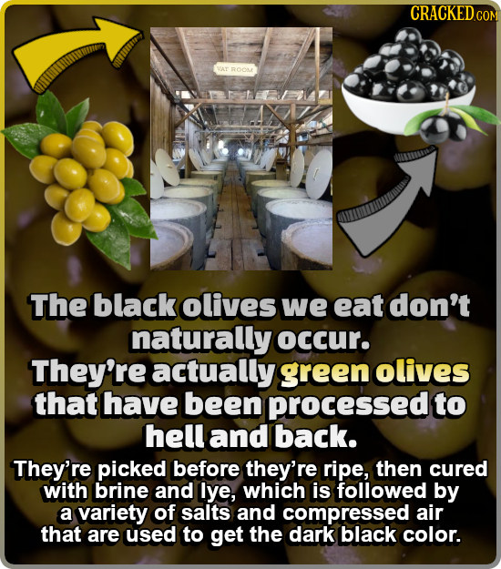 CRACKEDc COM VAT ROOME The black olives we eat don't naturally occur. They're actually green olives that have been processed to hell and back. They're