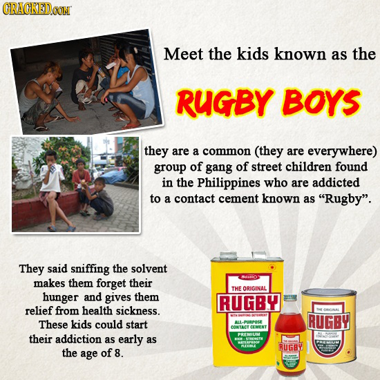 COM Meet the kids known as the RUGBY BOYS they are a common (they are everywhere) group of gang of street children found in the Philippines who are ad