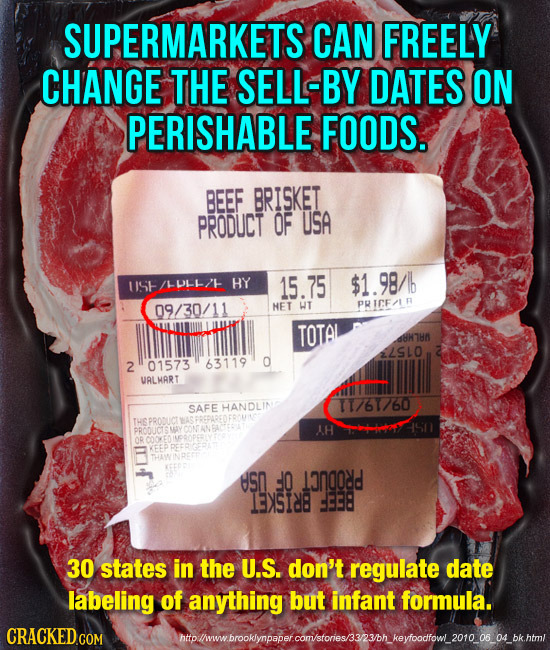 SUPERMARKETS CAN FREELY CHANGE THE SELL-BY DATES ON PERISHABLE FOODS. BEEF BRISKET PRODUCT OF USA UIS /L0LI-/ HY 15.75 $1.98/ 09/30/11 HET WT PRICF/T
