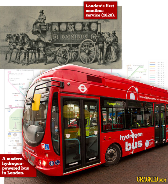 London's first omnibus service (1828). 0 OMNEBUS Humed gp Hydrogen Bax O hydregen bus A modern hydrogen- powered bus in London. CRACKED COM