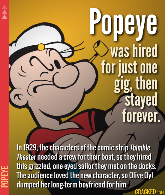 Popeye was hired for just one gig, then stayed forever. In 1929, the characters of the comic strip Thimble Theater needed a crew for their boat, so th