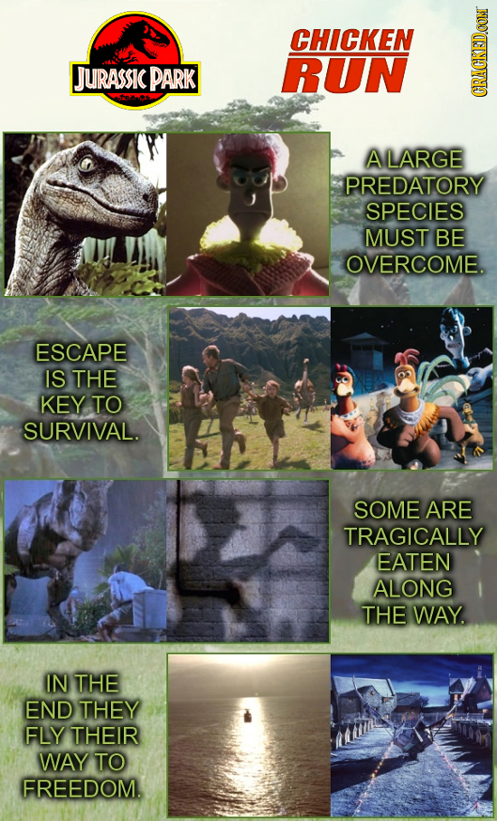 CHICKEN JUrAss PARK RUN CRAUI ALARGE PREDATORY SPECIES MUST BE OVERCOME. ESCAPE IS THE KEY TO SURVIVAL. SOME ARE TRAGICALLY EATEN ALONG THE WAY. IN TH