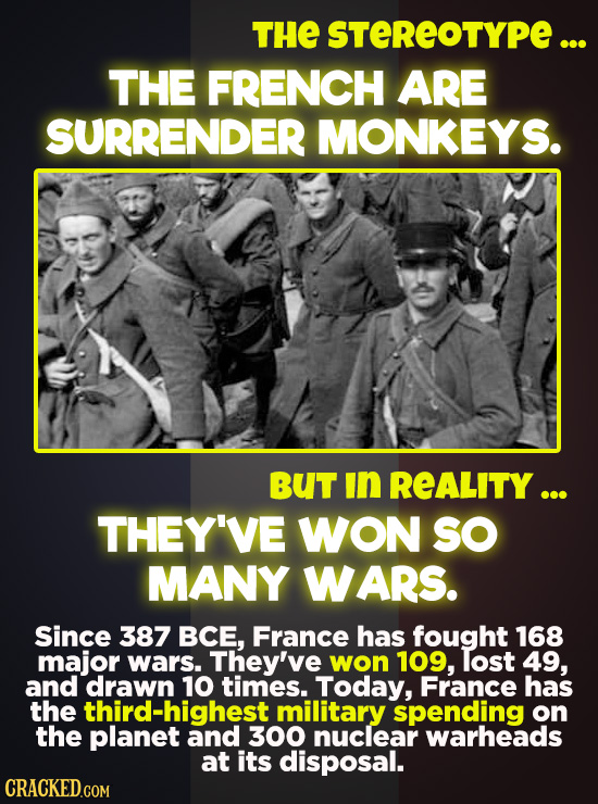 THE STEREOTYPE ... THE FRENCH ARE SURRENDER MONKEYS. BUT in REALITY ... THEY'VE WON SO MANY WARS. Since 387 BCE, France has fought 168 major wars. The
