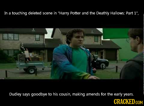 In a touching deleted scene in Harry Potter and the Deathly Hallows: Part 1, Dudley says goodbye to his cousin, making amends for the early years.