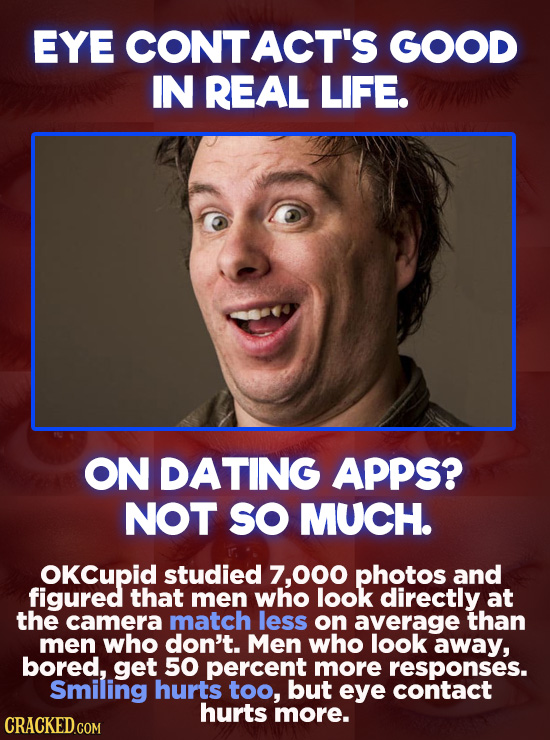 EYE CONT ACT'S GOOD IN REAL LIFE. ON DATING APPS? NOT SO MUCH. OKCupid studied 7,000 photos and figured that men who look directly at the camera match