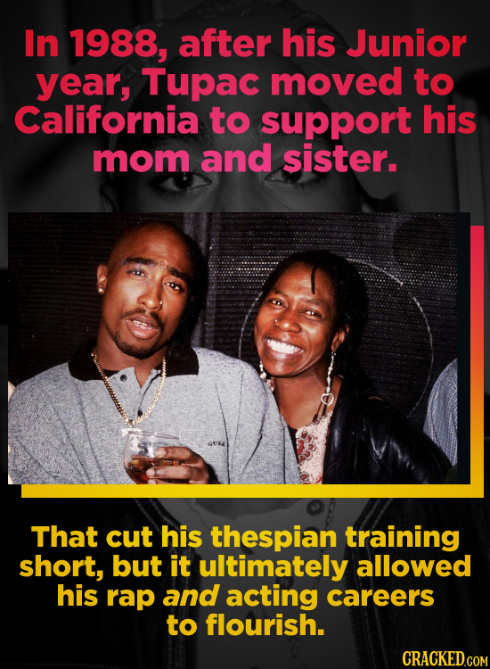 In 1988, after his Junior year, Tupac moved to California to support his mom and sister. That cut his thespian training short, but it ultimately allow
