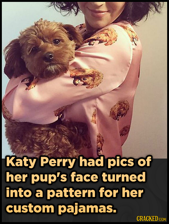Katy Perry had pics of her pup's face turned into a pattern for her custom pajamas.