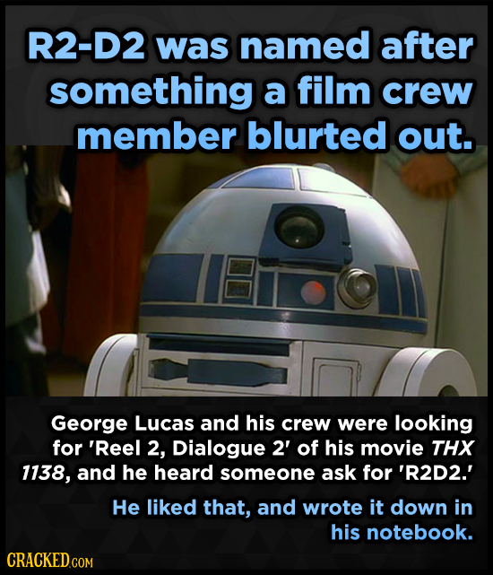 R2-D2 was named after something a film crew member blurted out. George Lucas and his crew were looking for 'Reel 2, Dialogue 2' of his movie THX 1138,