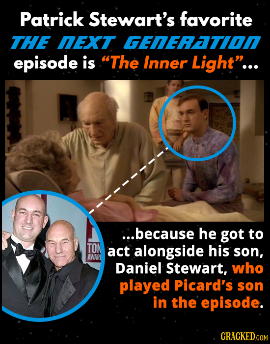 Patrick Stewart's favorite THE NEXT GENERATI0N episode is The Inner Light... ::.because he got to TON act alongside his son, AWAR Daniel Stewart, wh