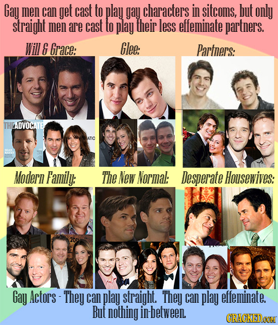 Gay men can get cast to play gay characters in sitcoms, but only straight men are cast to play their less effeminate partners. Will E Grace: Glee: Par
