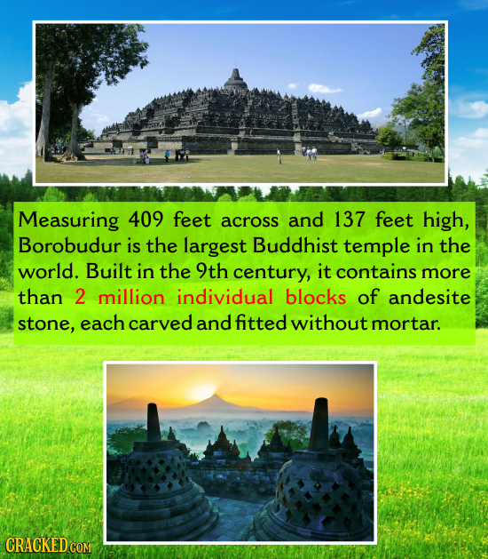 Measuring 409 feet across and 137 feet high, Borobudur is the largest Buddhist temple in the world. Built in the 9th century, it contains more than 2