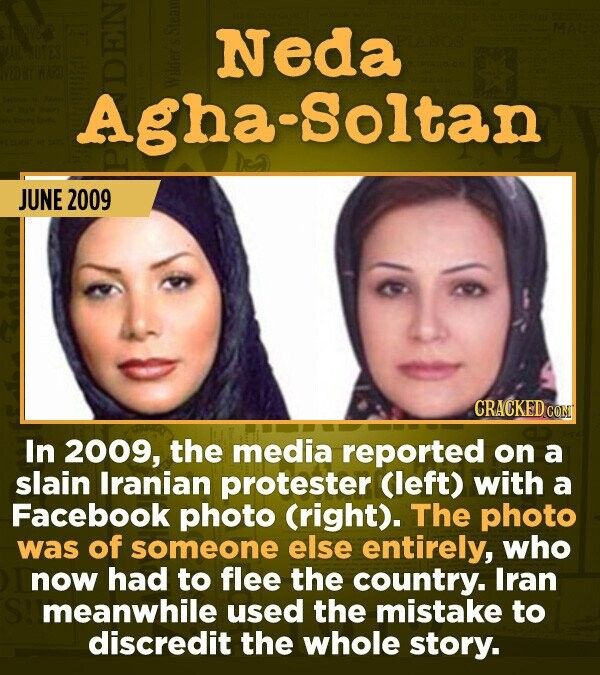 15 Of The Most Shameful Cases Of False Reporting From The Media - In 2009, the media reported on a killed Iranian protester (left) with a Facebook pho