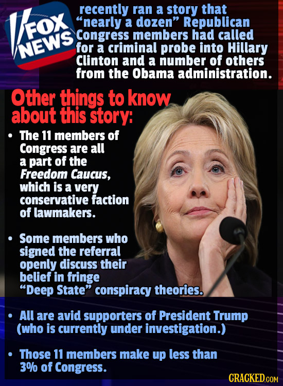 recently ran a story that nearly a dozen Republican FOX Congress members had called NEWS for a criminal probe into Hillary Clinton and a number of o