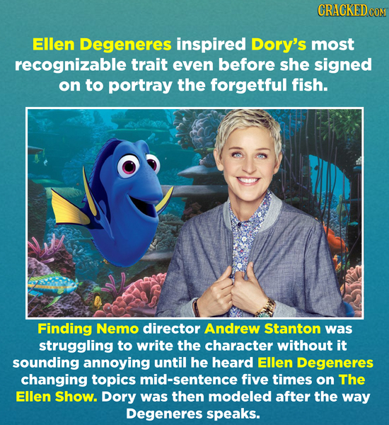 CRACKED COM Ellen Degeneres inspired Dory's most recognizable trait even before she signed on to portray the forgetful fish. Finding Nemo director And