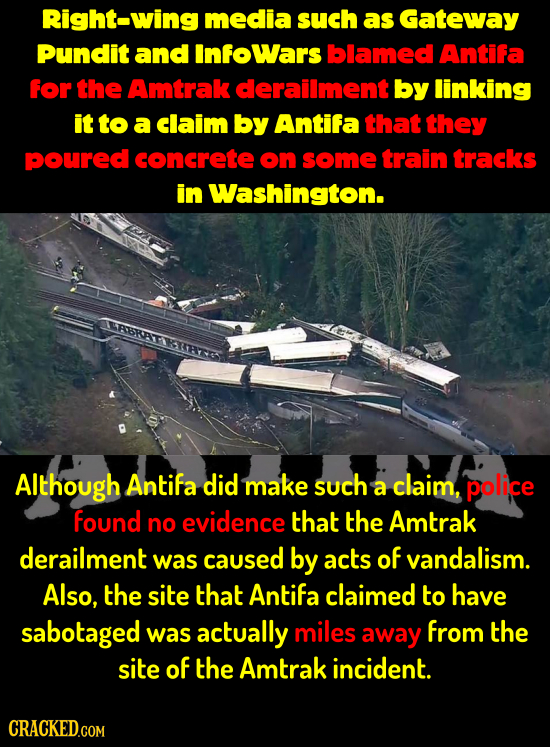 Right-wing media such as Gateway Pundit and Infowars blamed Antifa for the Amtrak derailment by linking it to a claim by Antifa that they poured concr