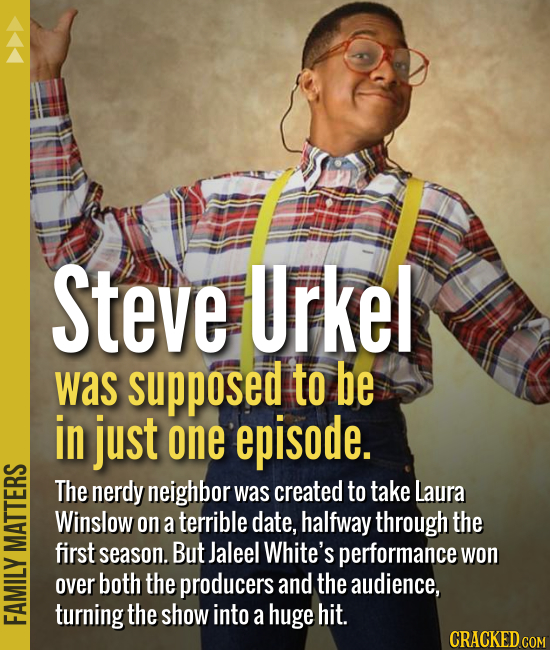 Steve Urkel was supposed to be in just one episode. The nerdy neighbor was created to take Laura Winslow on a terrible date, halfway through the first
