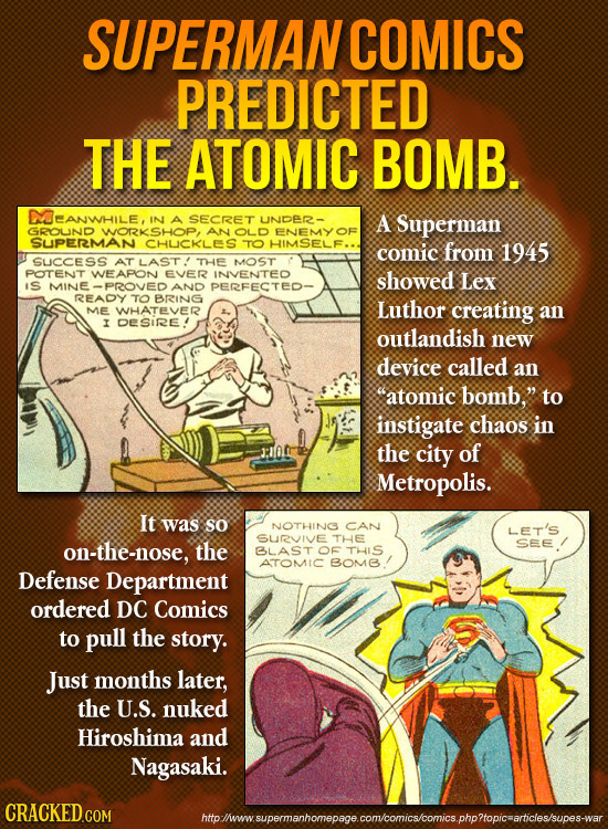 SUPERMANCOMICS PREDICTED THE ATOMIC BOMB. DOEANWHILE, IN SECRET UNDER - A Superman GROUND WORKSHOP, AN OLD ENEMYOF SUPERMAN CHUICKLEES TO HIMSELF.. co