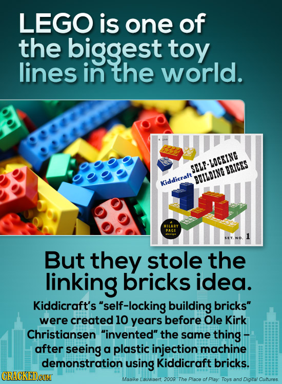 LEGO is one of the biggest toy lines in the world. 114 3 SELF-LOCEING BRICKS BILDING Kiddicraft HILARY PACE SET But they stole the linking bricks idea