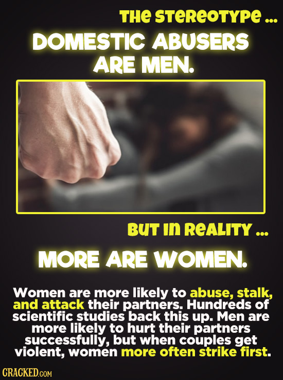 THE STEREOTYPE ... DOMESTIC ABUSERS ARE MEN. BUT in REALITY ... MORE ARE WOMEN. Women are more likely to abuse, stalk, and attack their partners. Hund