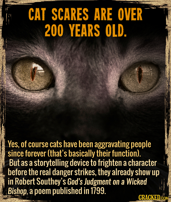 Cat scares are over 200 years old. - Yes, of course cats have been aggravating people since forever (that's basically their function).  But as a story