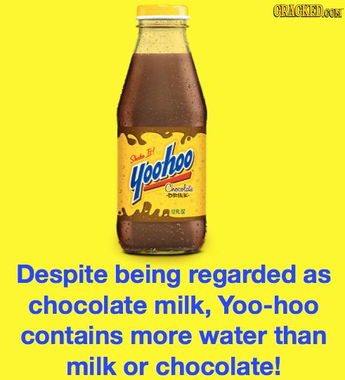 CRACKED.COM IH/ yoetoo Slab Chocolate -DRINK- 12R Despite being regarded as chocolate milk, Yoo-hoo contains more water than milk or chocolate!