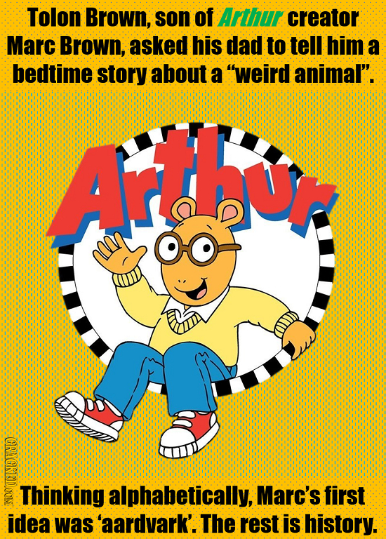 Tolon Brown, son of Arthur creator Marc Brown, asked his dad to tell him a bedtime story about a weird animal'. Arthu RAODCONE Thinking alphabetical