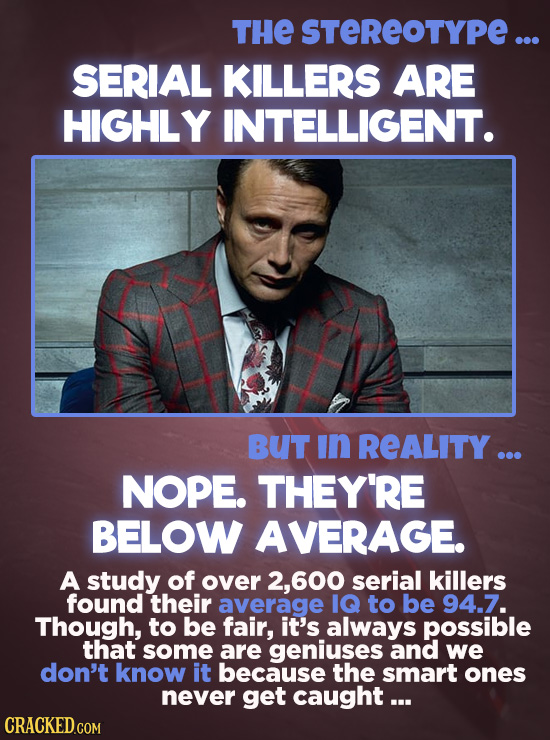 THE STEREOTYPE ... SERIAL KILLERS ARE HIGHLY INTELLIGENT. BUT In REALITY... NOPE. THEY'RE BELOW AVERAGE. A study of over 2, 600 serial killers found t