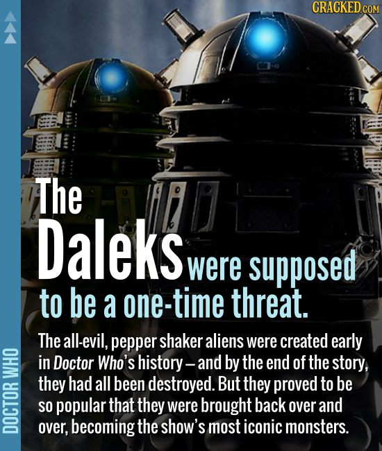 The Daleks were supposed to be a one-time threat. The all-evil, pepper shaker aliens were created early in Doctor Who's history- and by the