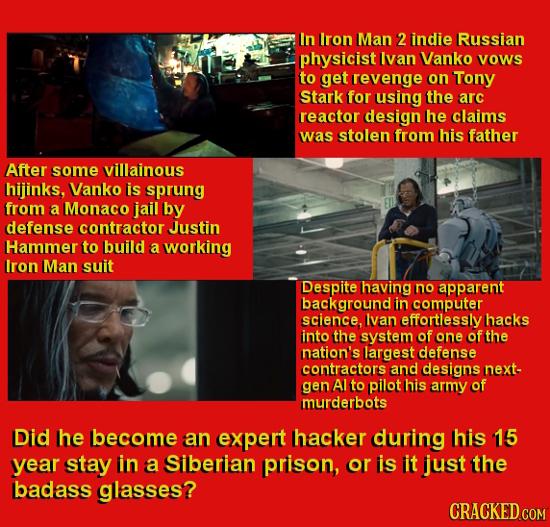 In Iron Man 2 indie Russian physicist Ivan Vanko Vows to get revenge on Tony Stark for using the arc reactor design he claims was stolen from his fath