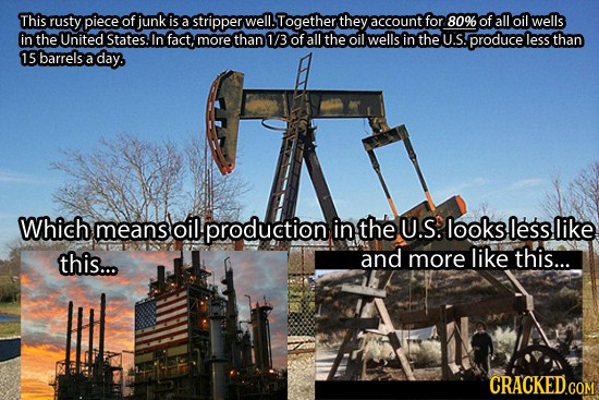 This rusty piece of junk is a stripper well. Together they account for 80% of all oil wells in the United States. In fact, more than 1/3 of all the oi