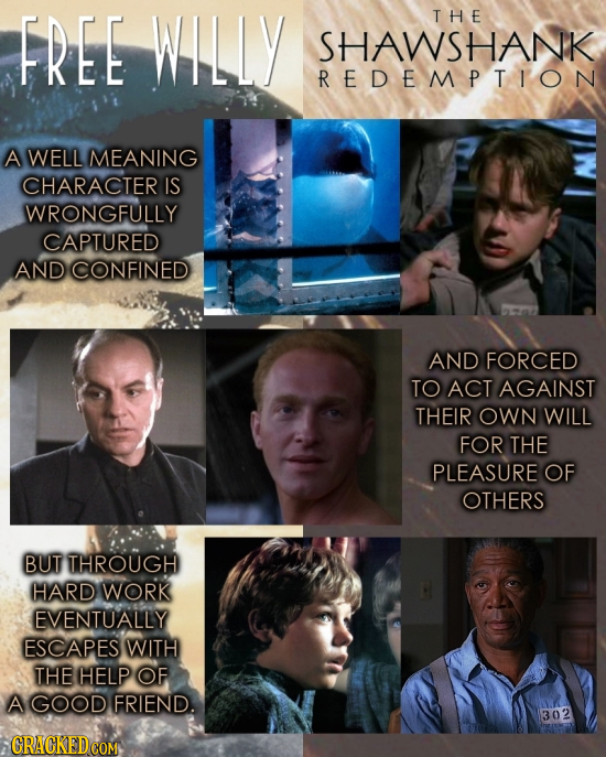 FREE WILLY THE SHAWSHANK REDEMPTION A WELL MEANING CHARACTER IS WRONGFULLY CAPTURED AND CONFINED AND FORCED TO ACT AGAINST THEIR OWN WILL FOR THE PLEA
