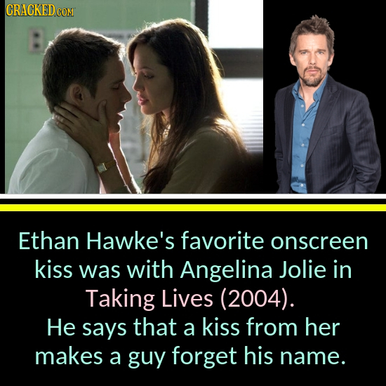 CRACKEDCON Ethan Hawke's favorite onscreen kiss was with Angelina Jolie in Taking Lives (2004). He says that a kiss from her makes a guy forget his na