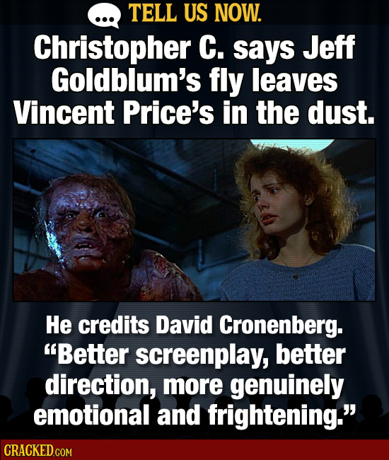 TELL US NOW. Christopher C. says Jeff Goldblum's fly leaves Vincent Price's in the dust. He credits David Cronenberg. Better screenplay, better direc