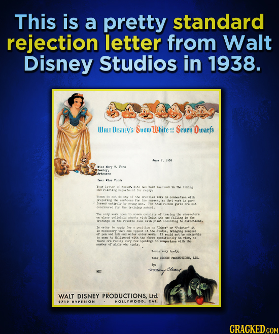 This is a pretty standard rejection letter from Walt Disney Studios in 1938. WAT DISnE's Snow White Seven Owarfs 1i4 Yord rkas Desr Ismte Your letta o