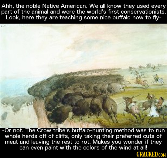 Ahh, the noble Native American. We all know they used every part of the animal and were the world's first conservationists. Look, here they are teachi