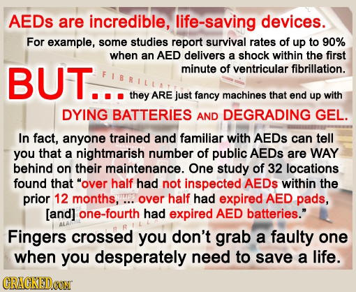 AEDs are incredible, life-saving devices. For example, some studies report survival rates of up to 90% when an AED delivers a shock within the first B