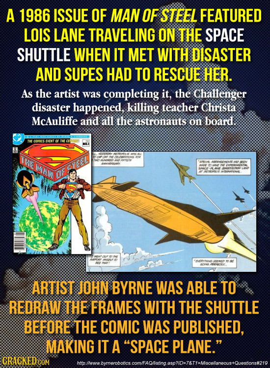 A 1986 ISSUE OF MAN OF STEEL FEATURED LOIS LANE TRAVELING ON THE SPACE SHUTTLE WHEN IT MET WITH DISASTER AND SUPES HAD TO RESCUE HER. As the artist wa