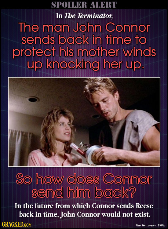 SPOILER ALERT In The Terminator; The man John Connor sends back in time to protect his mother winds up knocking her up. So how does Connor send him ba