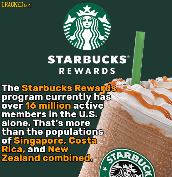 CRACKEDC STARBUCKS REWARDS The Starbucks Rewards program currently has over 16 million active members in the U.S. alone. That's more than the populati
